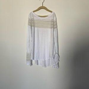 Free People White Long Sleeve Shirt